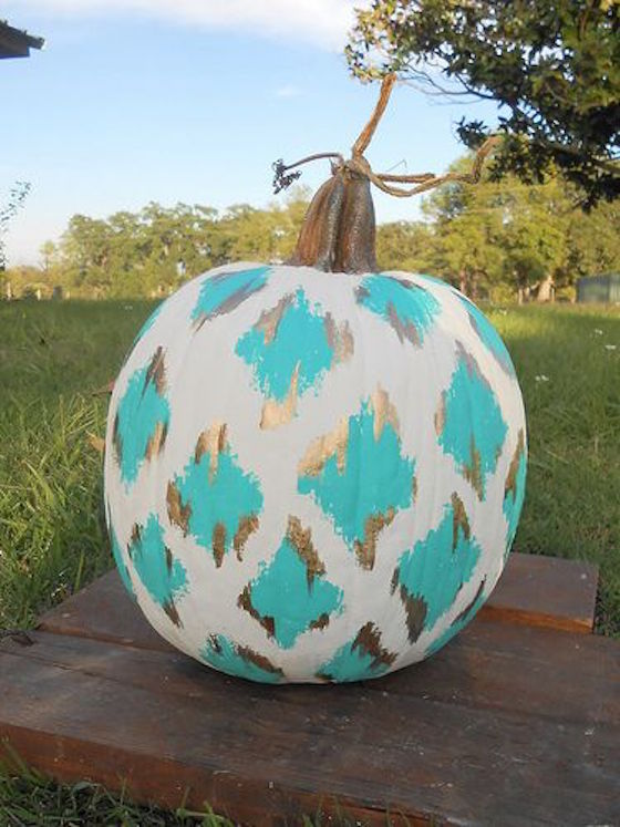 Gold and turquoise ikat pumpkin