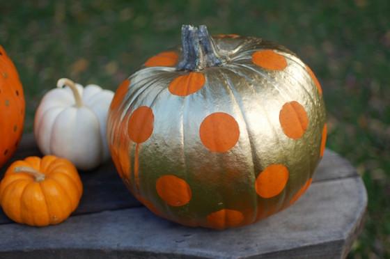 Gold and Orange Polka Dot Pumpkin