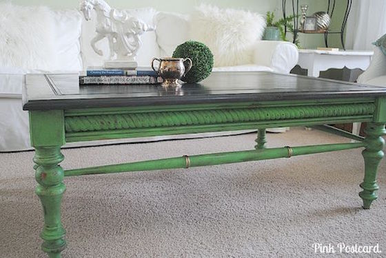 Painted green coffee table