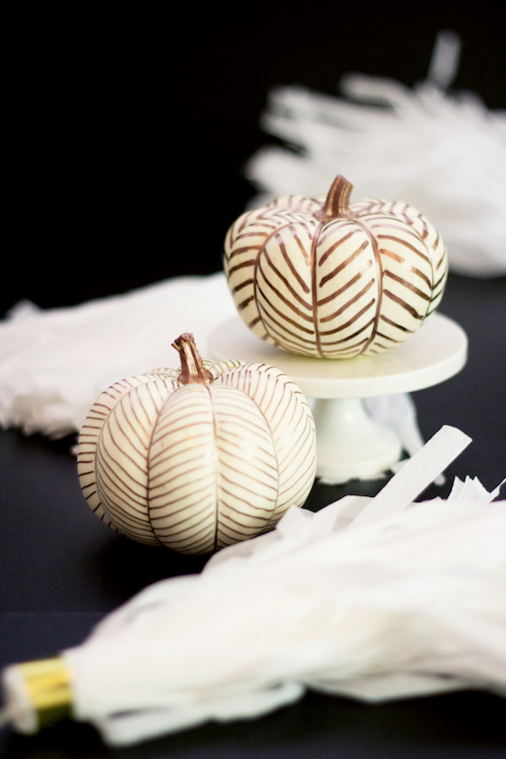 Guilded Pumpkins with Herringbone Design by Lovely Indeed