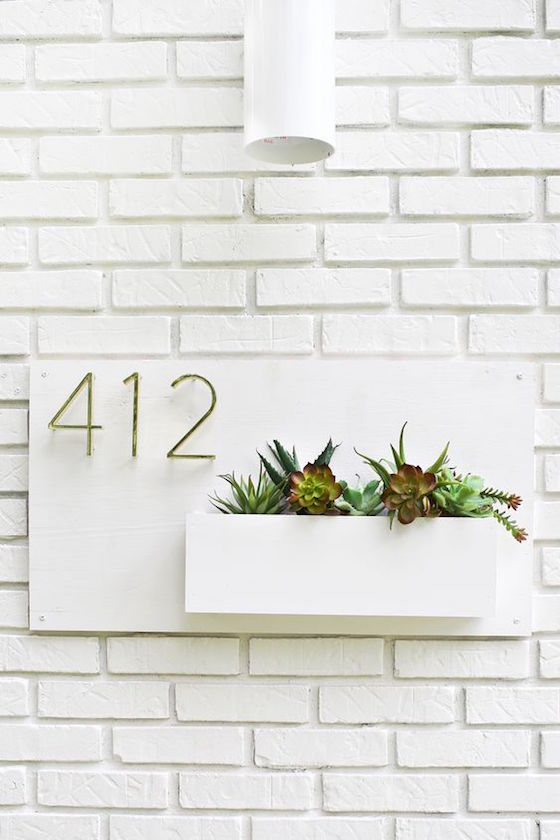 House Number with Planter