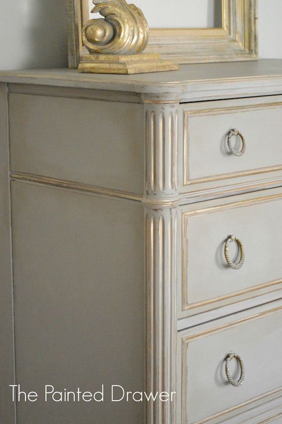 Painted Dresser with Gold Accents