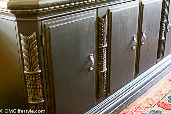 Painted furniture - I converted this buffet from a pickled wood finish to black.