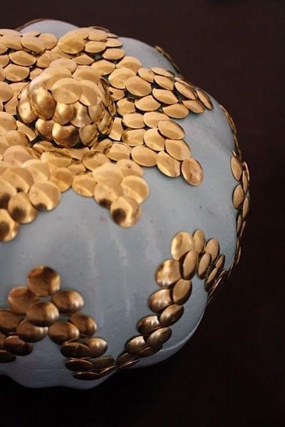 Gilded Pumpkin with Thumbtacks