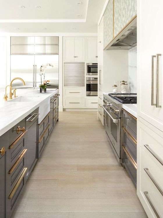 Two toned kitchen with gray and white cabinets