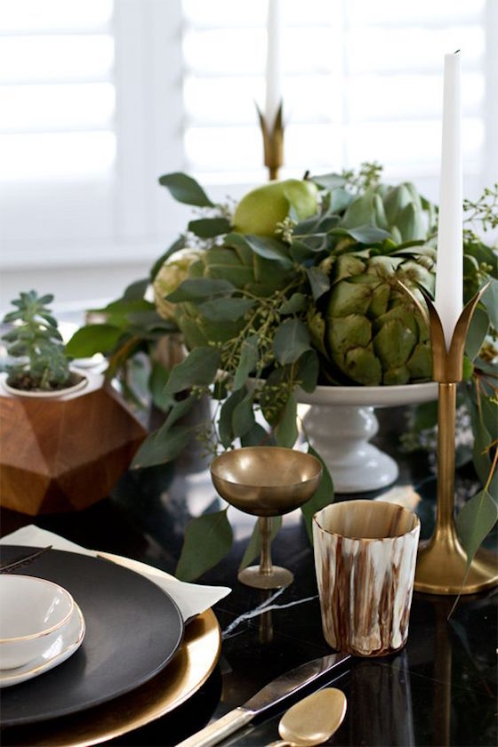 8 Unique Thanksgiving Centerpieces | Artichokes, pears and gourds on a cake stand make for a unique Thanksgiving Centerpiece