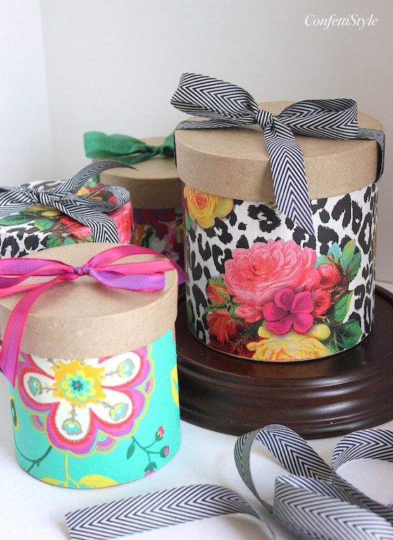 Floral Paper Wrapped Boxes