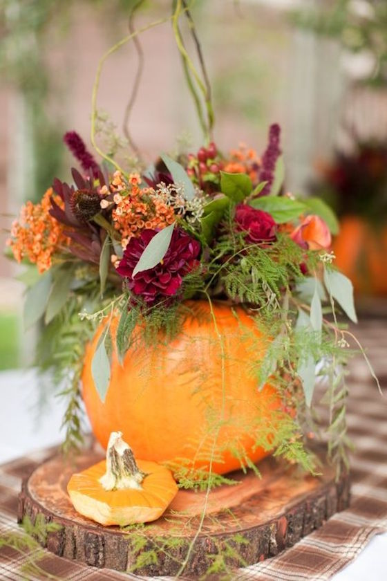 Eleveate your Pumpkin Centerpiece with Wood Charger - it just adds another layer and looks great