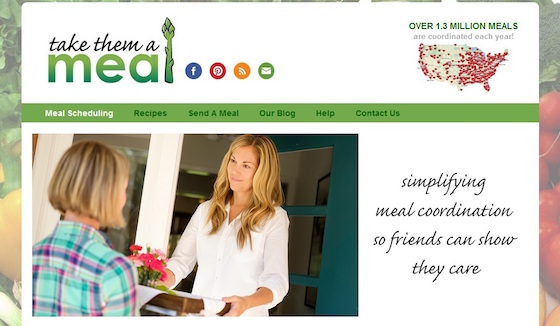 The website Take Them a Meal makes it easy for friends to coordinate their effort