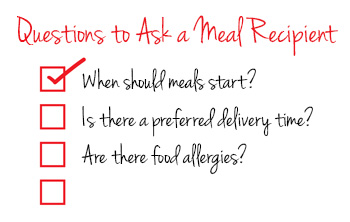 Questions to ask meal recipients