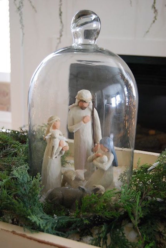 Add cut greenery to nativity scene