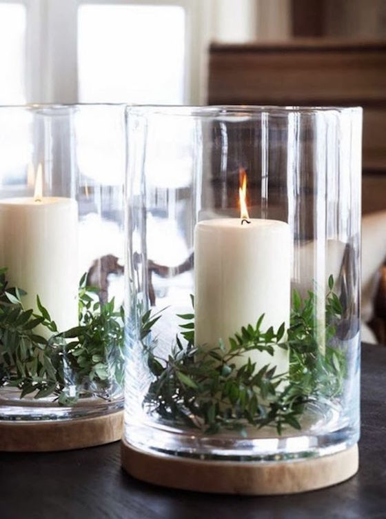Add greenery to your candle holders