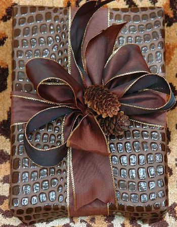 Brown gift wrap with pinecones