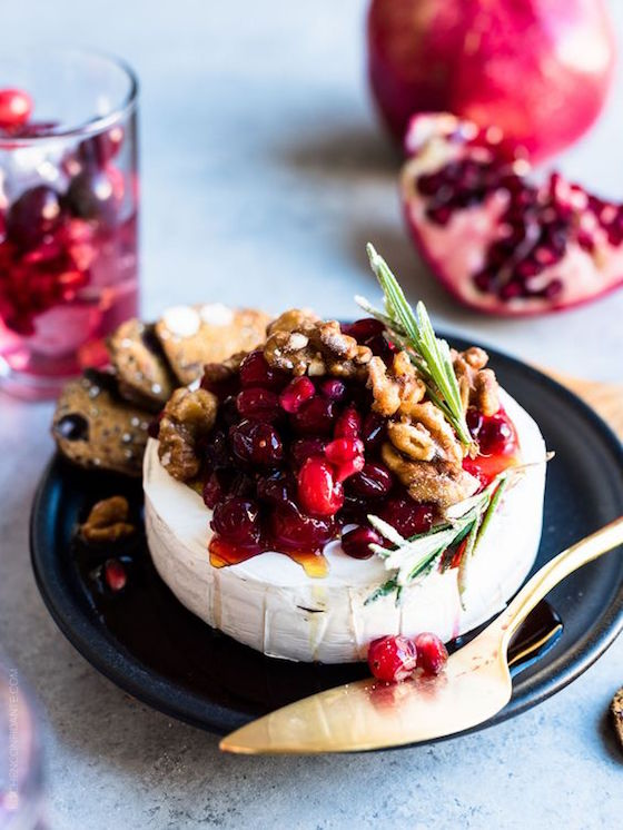 6 Brie Appetizers that Make a Stunning Presentation | Cranberry Pomegranate Baked Brie from Kitchen Confidante