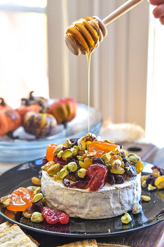 6 Brie Appetizers that Make a Stunning Presentation | Dried Fruit and Pistachio Baked Brie from Home Made Interest