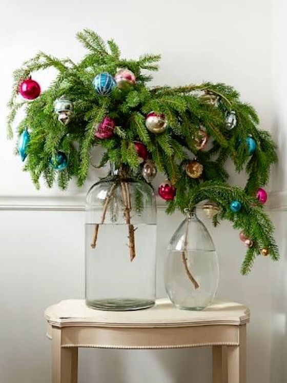 Evergreen Bouquet with Christmas Bulbs