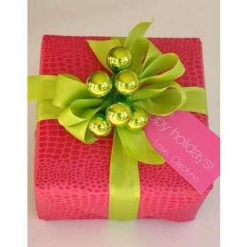 Pink and green gift wrap in lieu of red and green for the holidays
