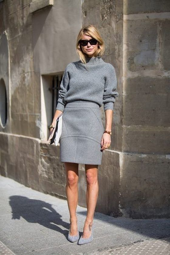Head to toe gray outfit