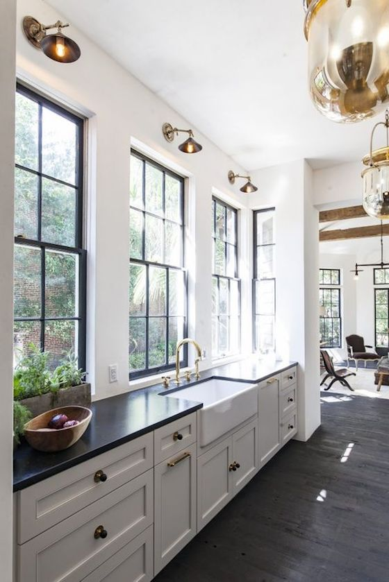 Kitchen with an abundance of Natural Light by Jen Langston Interiors