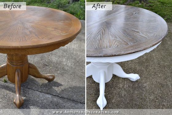 Oak Dining Table Makeover by Addicted 2 Decorating