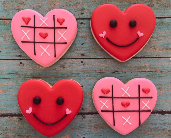 Smiley and Tic Tac Toe Valentine Cookies