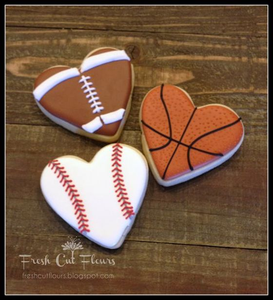 Sports themed heart shaped cookies