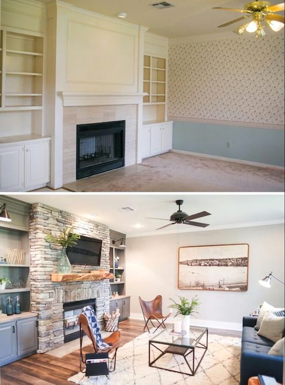 Before & After Great Room Fireplace and Bookcases