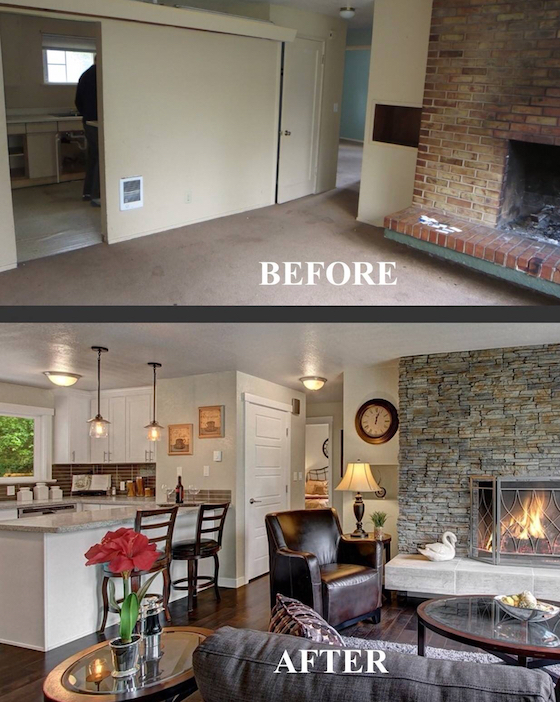Before and After Fireplace Redo