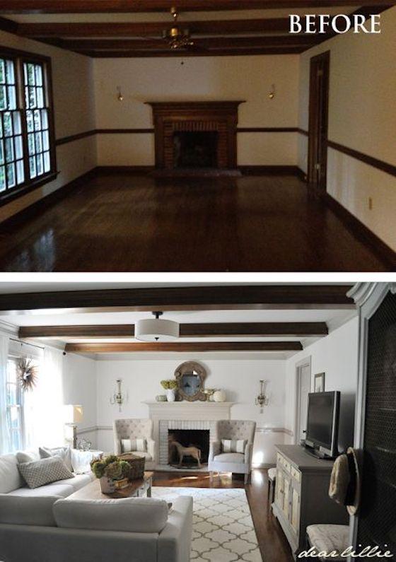 Painted trim with dark wood beams