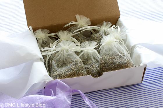 Gift wrapped homemade lavender sachets
