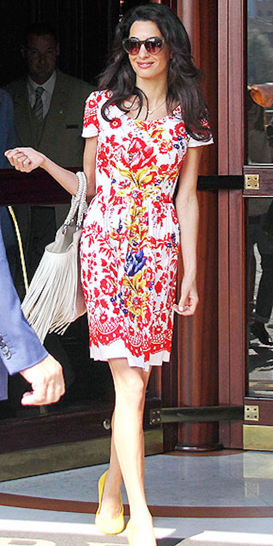 Amal Clooney in Red Print Dress - OMG Lifestyle Blog