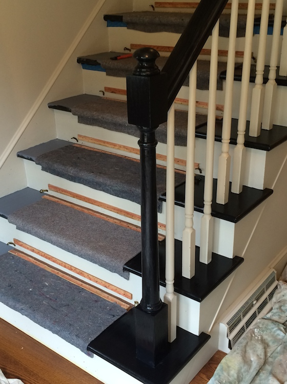 One Room Challenge Week 2 Leopard Carpet. Totally Transformed By Paint  Gorgeous Simple Black And White Painted Staircase Maisondepax