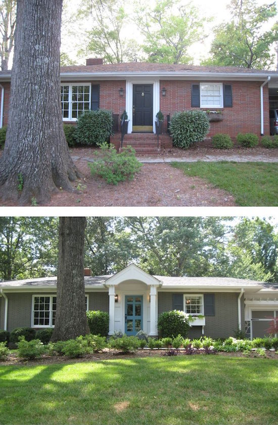 New Entryway And Paint Add Curb Eal To This Brick Ranch